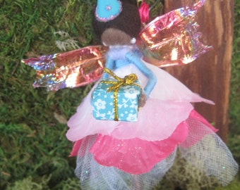 Pink and Blue Birthday Felted Fairy Party Gift