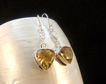 Yellow Citrine & White Topaz Gemstone Sterling Silver Earrings