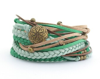 Mothers day gift, Women wrap bracelet, green jade boho jewelry, mandala yoga bracelet, hippie beads bracelet, shabby chic bracelet