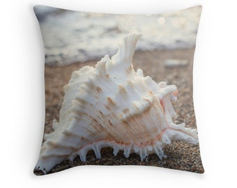 Seashell Throw Pillow Cover (no 2), Photo Pillow Case, Coastal Decor, Decorative Pillow Case, Toss Pillow cover, Beach Decor, Shell Pillow