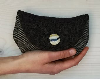 Mini Clutch-brown and black fabric with vintage button