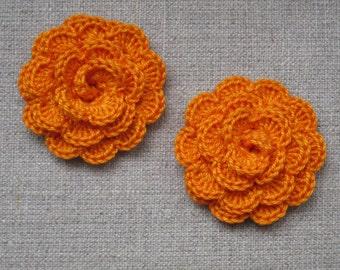 "set of 2 orange flowers crocheted ""pink style"""