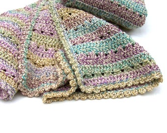 Boho Throw Blanket - Crochet Afghan - Daybed Coverlet - Throw - Striped Blanket - Mustard - Turquoise - Purple - Lichen - Ivory