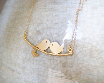 Mother Bird with baby initial , Bird Charm Necklace, Mother Jewelry Necklace