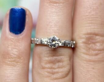 Platinum Diamond Engagement Ring 6 prong baguettes size 3.5
