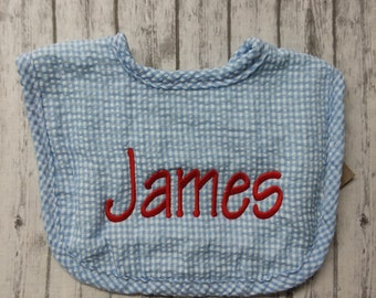 Personalized blue seersucker baby bib/personalized baby bib/monogram blue seersucker baby bib/personalized baby shower gift/boy baby bib,