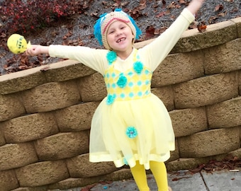 Joy Tutu Dress: yellow, blue flowers, costume, inside out, easy on off,  birthday, vacation, adjustable, meet and greet