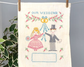 Vintage Our Wedding cross stitch, bride and groom, unframed, fill in your wedding date, groom in top hat