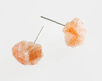 raw sunstone crystal earrling