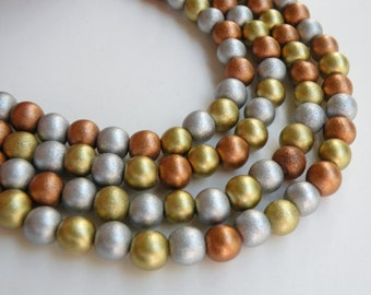 Metallic gold silver copper wood beads round Cheesewood 8mm full strand eco-friendly 9701NB