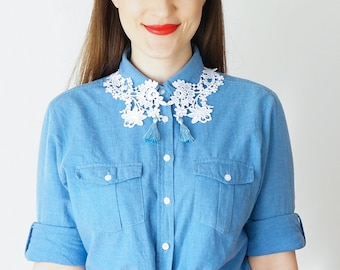Lace Collar Tassel Necklace Statement Necklace Lace Necklace Girlfriend Gift For Her Summer Spring Trends GiftCustom/ POLLEIN
