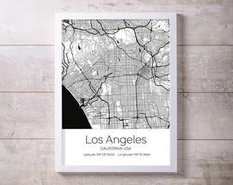 Los Angeles City Map Wall Art Prints