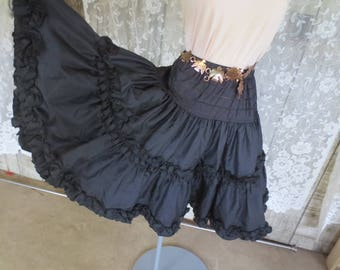 Vintage Black Square Dance Petticoat  / Satin Frilly Nylon Petticoat / Two layers / Size Small / Cowgirl Chic / Boho Cowgirl