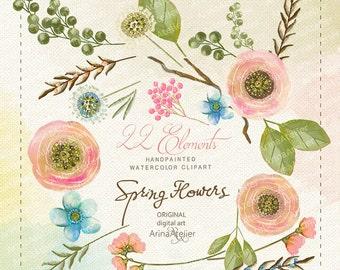 Shabby Chic Spring Flowers Watercolor CLIPART - digital flowers, DIY invites, Clip art, scrapbooking, wedding invitations, florals scrap
