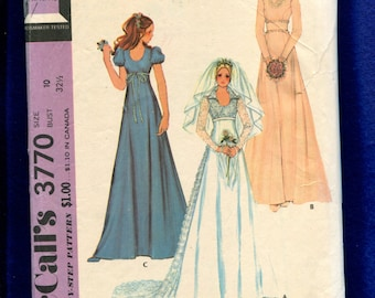 1973 McCalls 3770 Princess Seam Scoop Neck Wedding & Bridesmaid Dresses with Raised Waist Size 10