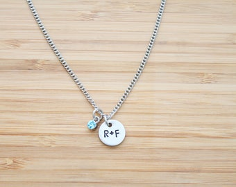 hand stamped rodan and fields necklace   r+f