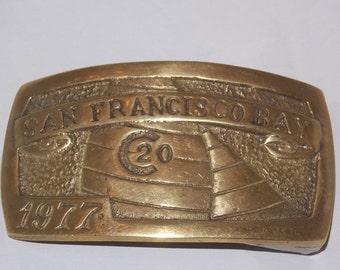 San Francisco Bay Sailing Brass Belt Buckle
