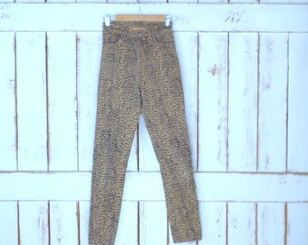 90s vintage brown/black leopard print stretch denim skinny jeans/animal/cat print jeans/xsmall