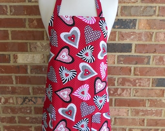 Womens Full Apron, Wild Hearts, Valentine's Day Apron, Kitchen Apron. Bib Apron, Pocket Apron