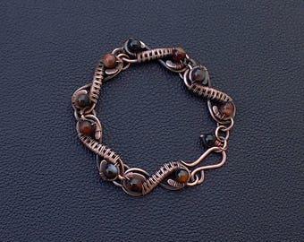 Wire wrapped agate copper women bracelet,wire wrapped women jewelry,Copper wire Wrapping Bracelet,Copper agate bracelets,Wire wrapped agate