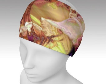 Women's HEADBAND Wide Yoga Head Wrap Hair Band - Scarf ~ Abstract Daylily / Exclusive Design ~ Classy, Stylish, Unique Accessory