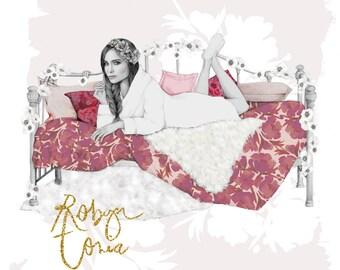 Day bed fashion illustration