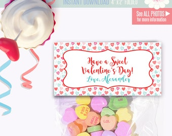 Valentine's treat topper, Printable treat bag topper, topper templates, Instant download Self Editable A253