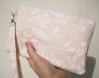 Wedding Clutch wristlet, 2 pockets,medium,peach, cotton, bridesmaid gift, - Queen anne peach