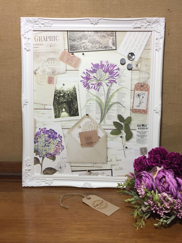 Framed Magnet Board | Garden Lovers Gift | Botanical Paper Notice Board |  Shabby Chic Style Kitchen Memo Board | Magnetic Board Organiser
