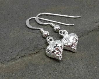 Love heart earrings/sterling silver earrings/everyday earrings/925 silver earrings/heart earrings/mothers day gift/gift for her.