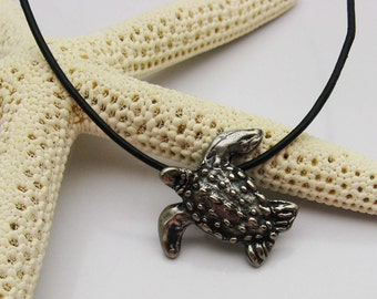 Handmade Turtle Necklace, Sea Turtle Necklace, Leatherback Turtle, Black Leather Necklace, Dark Silver Turtle, Turtle Lover, Metal Clay