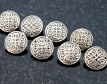 6 Silver Metal Buttons Celtic Knot Buttons 6 Gaelic Irish Ireland Buttons with Metal Shank
