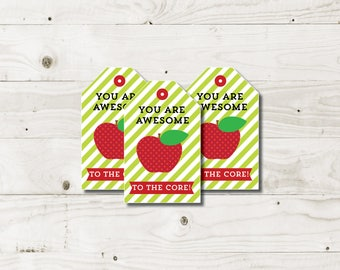 Apple Teacher Appreciation Gift Tags awesome to the core teacher gift tags teacher gift apple teacher tag printable instant download pto