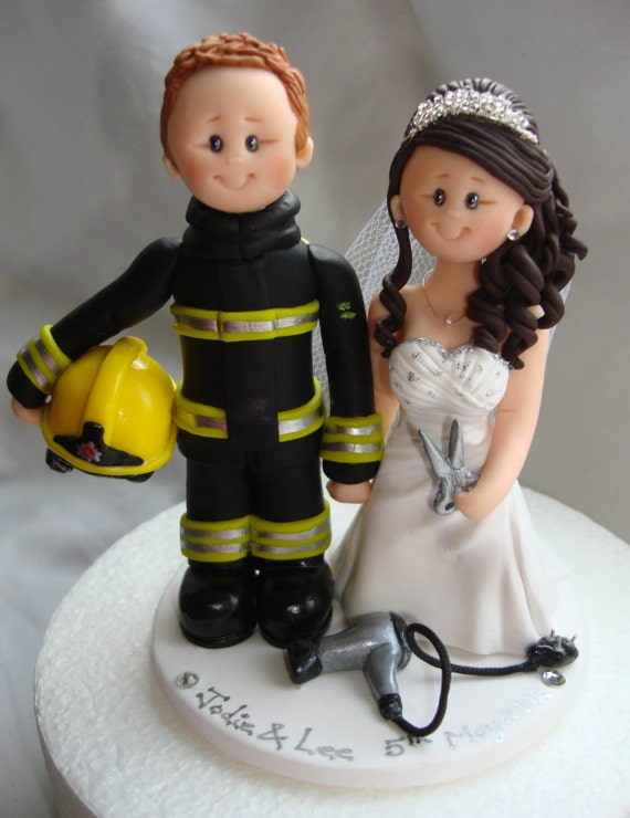 fireman and bride wedding cake toppers firefighter and hairstylist wedding cake topper custom made 14268