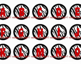 INSTANT DOWNLOAD...Zebra Red Alphabet 1 Inch Circle Image Collage for Bottle Caps...Buy 3 get 1