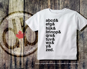 Funny Toddler T-Shirts, Alphabet Tees Canadian version, A B C's Kids T-shirt, Trendy Kid's Clothes, Typography Shirt, Children's Tees