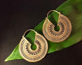 Indian Surya Tribal Brass Hoop Earrings Large, Indian Filigree Sun God Earrings, Rajasthani Surya Earrings, Brass Tribal Hoop Earrings,