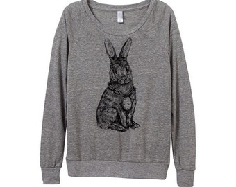 New! Rabbit Sweater  - Womens Rabbit Sweatshirt   - Small, Medium, Large, Extra Large (3 Color Options)