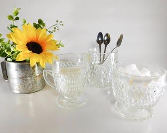 3 Piece Antique Glass Sugar & Creamer Set