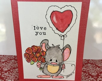 LOVE YOU Mouse Mother's Day Valentine's Day Card Handpainted Original Watercolor