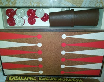 Sale Vintage game, board game,Backgammon, Checkers,  Pleasantime Games, 1973,  Backgammon, checkers, vintage table game, 1970's, board game,