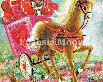 Digital Download : Sweetest Vintage Horse Valentine