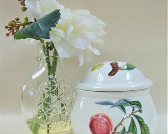 Portmeirion Pottery Pomona Lidded Sugar Pot Peach Cherry and Plum Design Quality Serving Tableware