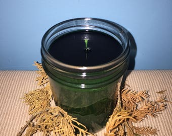 Evergreen Scented Green 8 oz Soy Wax Candle