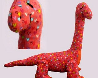 Dippy soft toy dinosaur sewing pattern