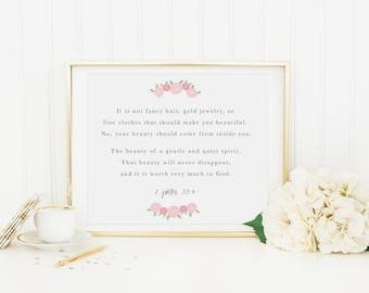 Beauty 8 x 10 Scripture Print, 1 Peter 3:3-4, Baby Girl Nursery Wall Decor, Girls Room Art Print, Floral Motivational Wall Art