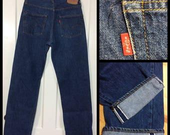 1970's Levi's 501 indigo blue dark wash denim jeans 34x36, measures 31x32 original hem, redline selvedge number 6 button boyfriend #338