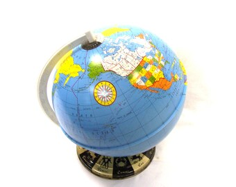 1960s Ohio Art Zodiac World Globe 9 inch. Desk Library Shelf Globe