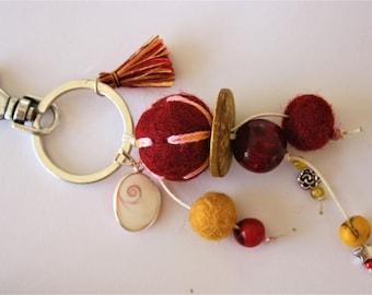 """Jewelry bag ethnic """"eye of Saint Lucia"""" Burgundy & yellow"""