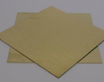 "Brass Sheet 6"" square."
